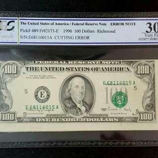 【錯體美金】1990年100元美鈔PCGS30 已鑑定為錯體鈔