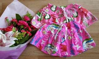 Girl Unicorn pink Skirt with inner shorts