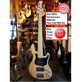 Cort GB75 OPN Open Pore Natural GB-Series 5 Strings Electric Bass Guitar