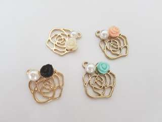 Gold Rose Charms