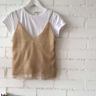 ZARA gold sparkly camisole