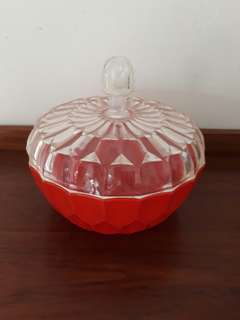 large vintage cut plastic bowl w cover