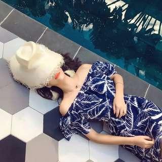 Minimei追加款✪韓系韓版歐美風春夏新款度假連衣裙女印花沙灘裙荷葉領顯瘦連衣裙開叉性感長裙