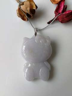 $58 Fixed Sales Type A Natural Lavender Jadeite Jade Hello Kitty Pendant 925 Silver Hook and chain set
