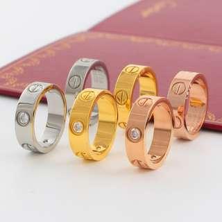 Cartier Shiny Love Diamond Ring Yellow White Rose gold Diamond Titanium Steel Couple