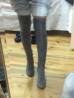 Grey Faux Suede Thigh High Heel Boots