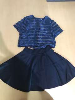 Blue top and skirt