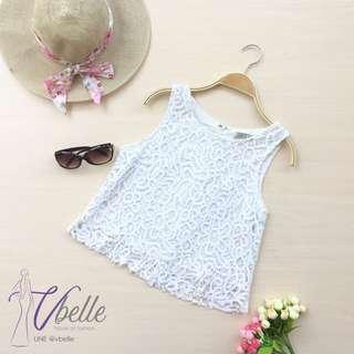 Vilary crochet white top