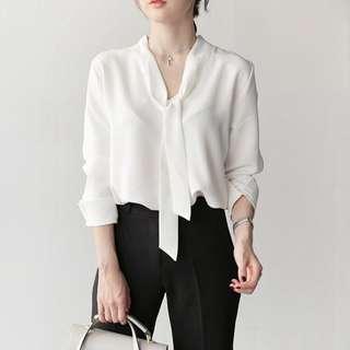 韓版OL上班職業女裝時尚雪紡長袖襯衫上衣