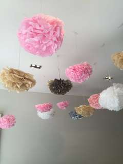 Handmade Tissue Paper Flower/PomPom Party/wedding/home decoration. approx 50