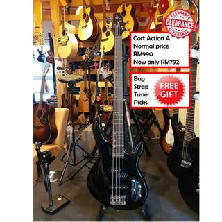 Cort Action Active BK Black Action Series Electric Bass Guitar