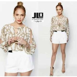J.Lo Gold Neck Chain Dolman Blouse