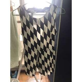 無袖黑白格紋短洋裝