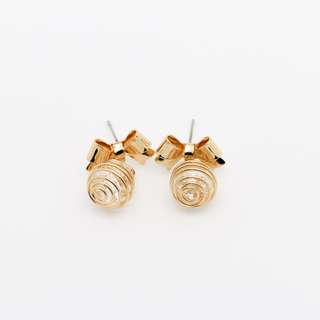 EMVINEX- Golden petite bow gem stone stud in metal swirl fashion earring