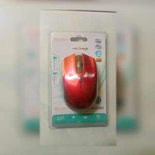 Mouse Wireless Advance Merah Baruu..