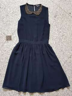 Warehouse navy blue beaded collared dress