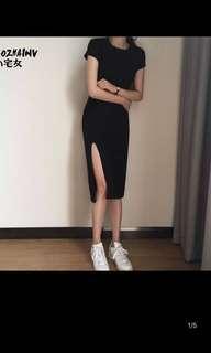 Basic high split dress