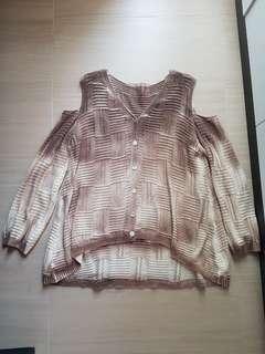 [Instock] Vintage Brown Crochet Cold Shoulder Outerwear