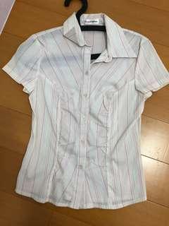 🚚 二手衣 白底粉紅色直條紋襯衫