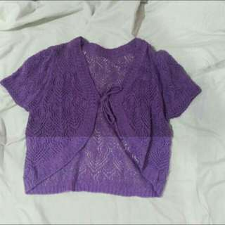 Purple Knitted Shortsleeve Top
