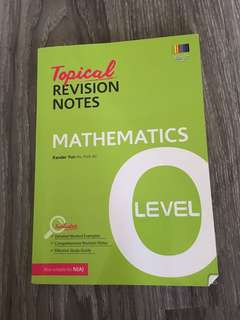 O Level Mathematics Topical Revision Notes