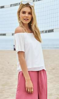 TCL dulce pleated sleeve in white