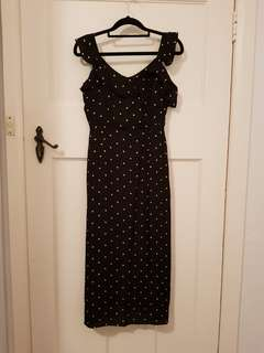 Polka Dot Silk Midi Dress