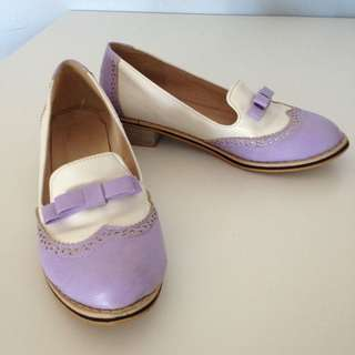 Vintage Lavender and White Loafers