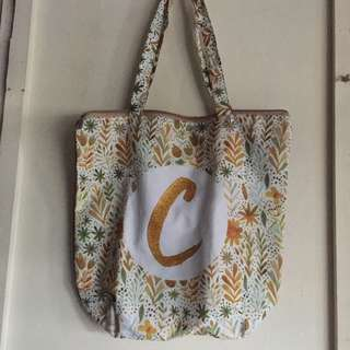 Customized initial tote bag