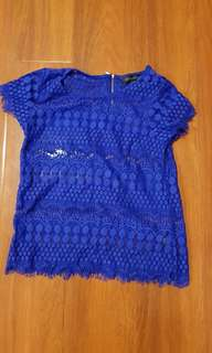 Forever new royal blue lace top. Size 6