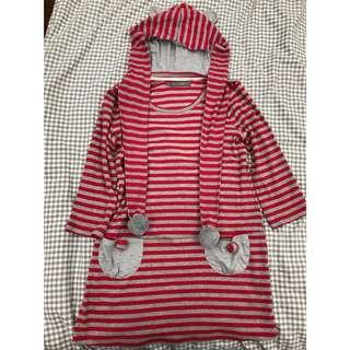 🚚 8happy七分袖紅色連帽長版上衣