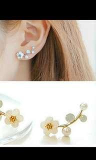 Party Flower Faux Pearl Rhinestone earrings