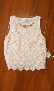 Forever new pink lace top size 6