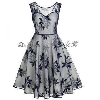 309 Leaf lace dress (Blue color, size from S to 2XL) (Pre-order)