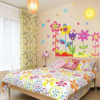 (90X80cm)Colourful Flowers Wall Decal Sticker