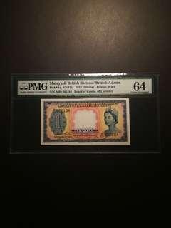Malaya Queen $1 1953 (PMG64)