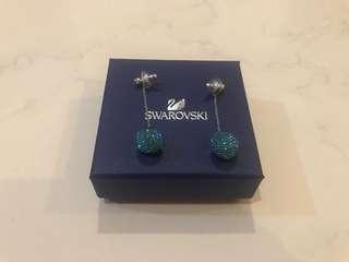 Ginger chain pierced earrings, blue