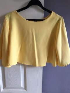 Yellow cropped top (Batwing sleeve)