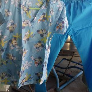 Blue Mickey Mouse Paired Scrub Suit