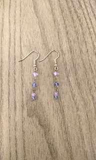 Hand-made purple bead earrings