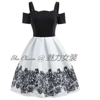 313  High Waisted Cold Shoulder A Line Dress (White, size: S to 2XL) (Pre-order)