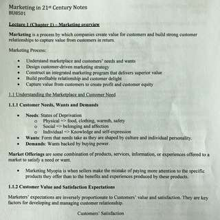 NTU BU8501 Marketing for the 21st Century Notes
