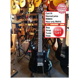 Cort X1 BK Black X-Series Electric Guitar
