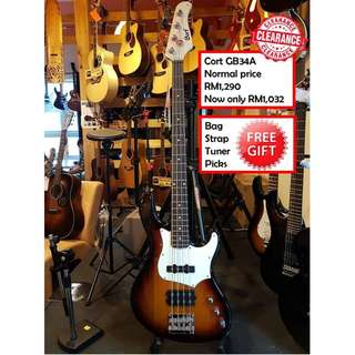 Cort GB34A 3TS 3 Tone Sunburst GB-Series Electric Bass Guitar