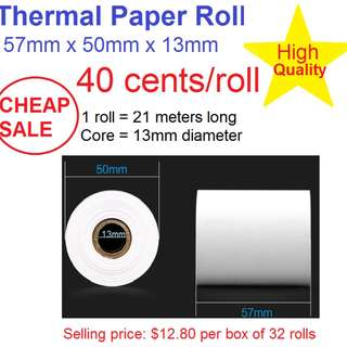 Box of 32 rolls Thermal Paper roll 57mmx50mmx13mm for Cash Register/Eftpos Machines