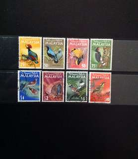 Malaysia 1965 National Birds Series Complete Set 8V Used (0427)