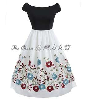 358 Vintage Floral Embroidery A Line Dress (Size:S to 2XL, Pre-oder)