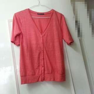 日系Regard Caressant 橙紅色短袖外套