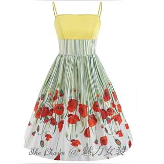 419 Color Block Floral Print Flare Dress (Size: S to 2XL, Pre-order)