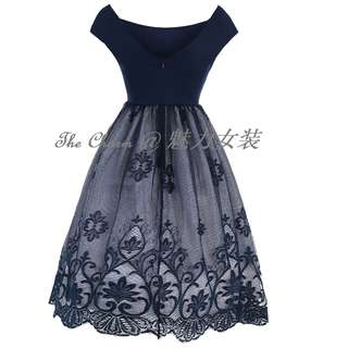 4038 Twill Cotton Lace Dress Retro Round Neck Short Sleeve Lace Dress (Blue, Size: S to 4XL, pre-oder)